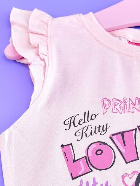 Jasnoróżowy t-shirt dla dziewczynki z falbankowymi rękawkami HELLO KITTY                                  zdj.                                  3