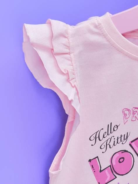 Jasnoróżowy t-shirt dla dziewczynki z falbankowymi rękawkami HELLO KITTY                                  zdj.                                  6