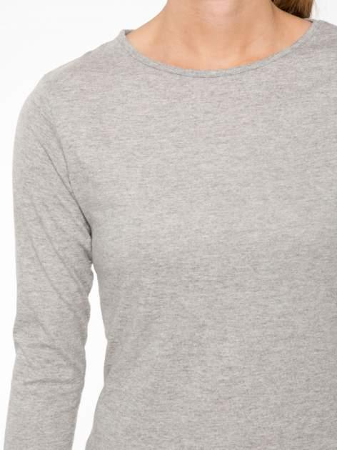 Jasnoszara bawełniana bluzka typu basic z długim rękawem                                  zdj.                                  5