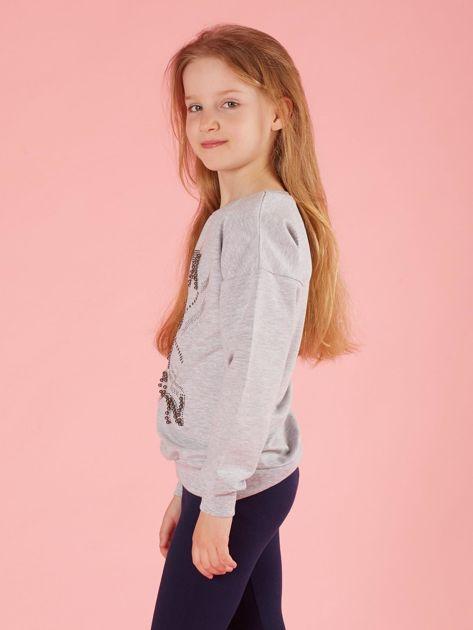 Jasnoszara bluza dziewczęca z aplikacjami                              zdj.                              3