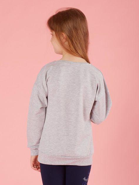 Jasnoszara bluza dziewczęca z aplikacjami                              zdj.                              2