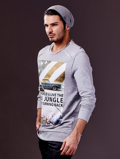 Jasnoszara bluza męska z nadrukiem i surowym wykończeniem                              zdj.                              10