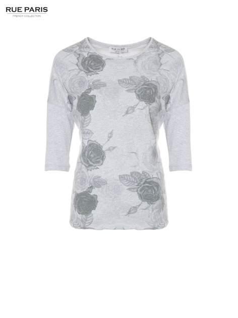 Jasnoszara bluza oversize z nadrukiem kwiatowym                                  zdj.                                  5