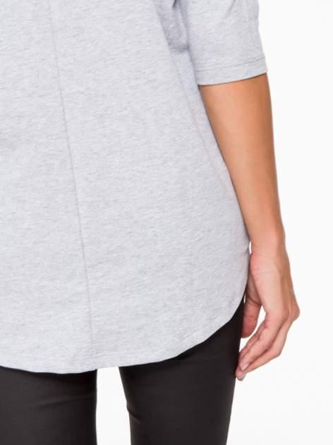 Jasnoszara bluza oversize z nadrukiem kwiatowym                                  zdj.                                  10