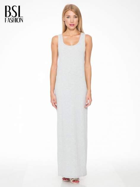 Jasnoszara długa sukienka z węzłem z tyłu                                  zdj.                                  1