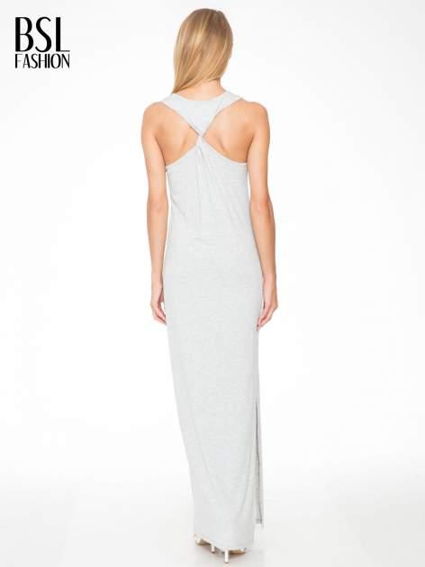 Jasnoszara długa sukienka z węzłem z tyłu                                  zdj.                                  2
