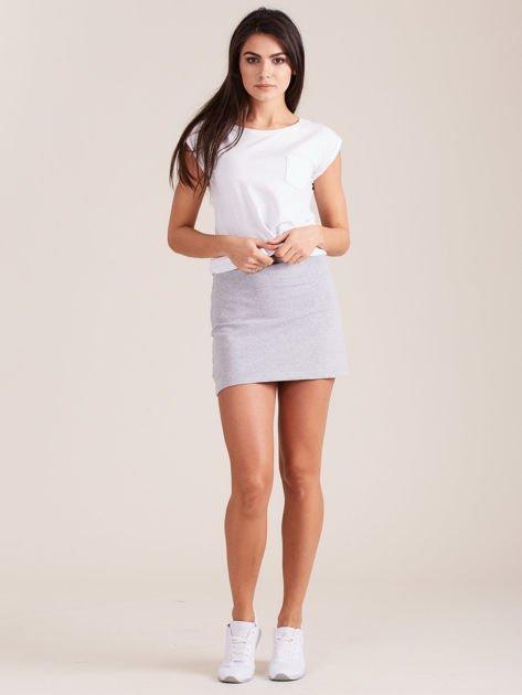 Jasnoszara dresowa spódnica mini                              zdj.                              1