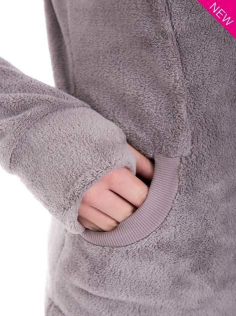 Jasnoszara pluszowa bluza z kapturem z uszkami i pomponami                                  zdj.                                  8