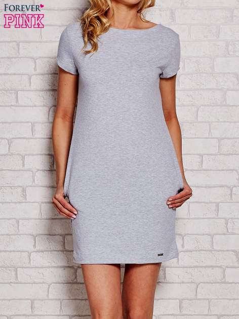 Jasnoszara sukienka dresowa z kieszeniami                                  zdj.                                  1
