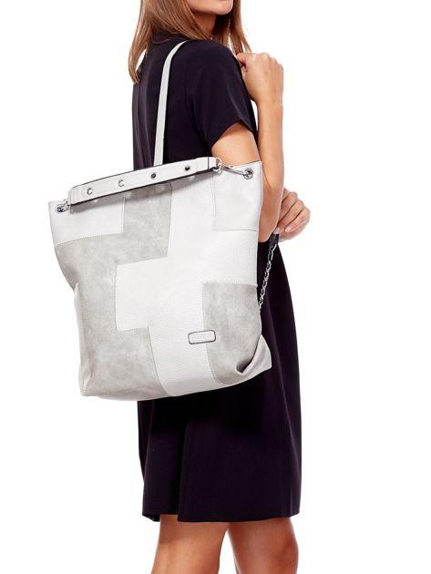 Jasnoszara torba-plecak z odpinanymi szelkami                              zdj.                              4