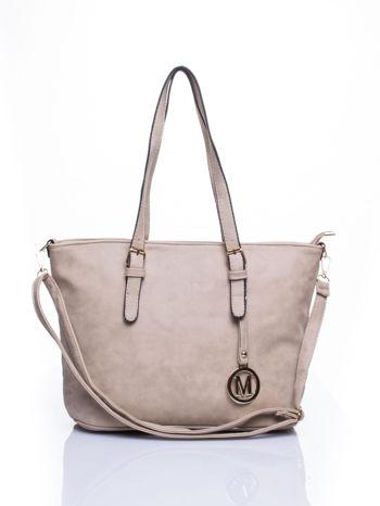 Jasnoszara torba shopper bag z zawieszką