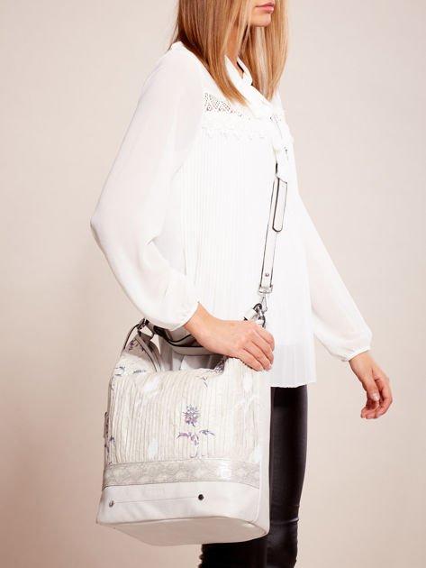 Jasnoszara torba z łączonych materiałów w stylu japońskim                              zdj.                              1