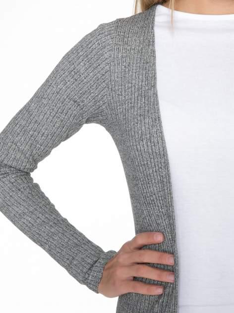Jasnoszary długi prążkowany sweter kardigan                                  zdj.                                  5