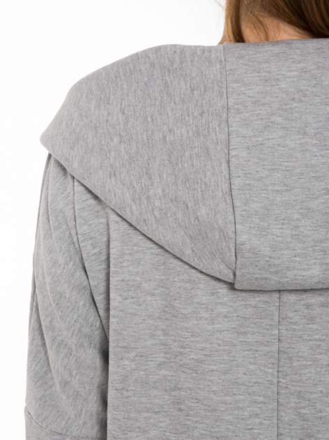 Jasnoszary płaszczyk dresowy bluza z kapturem                                  zdj.                                  5