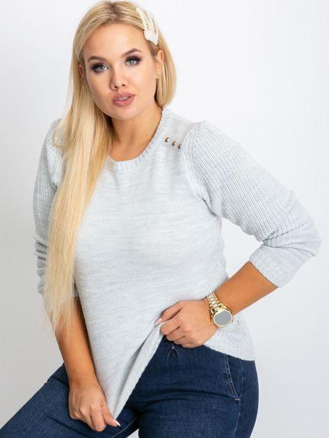 Jasnoszary sweter plus size Queen                              zdj.                              1