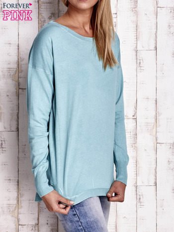 Jasnoturkusowy sweter z okrągłym dekoltem                                  zdj.                                  3