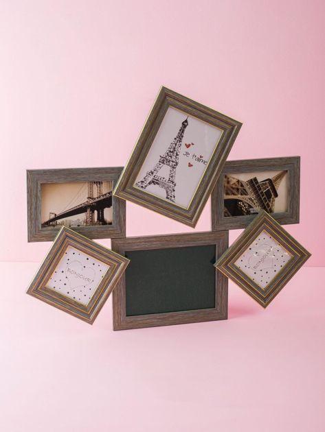 Jasnozielona drewniana multirama z tablicą