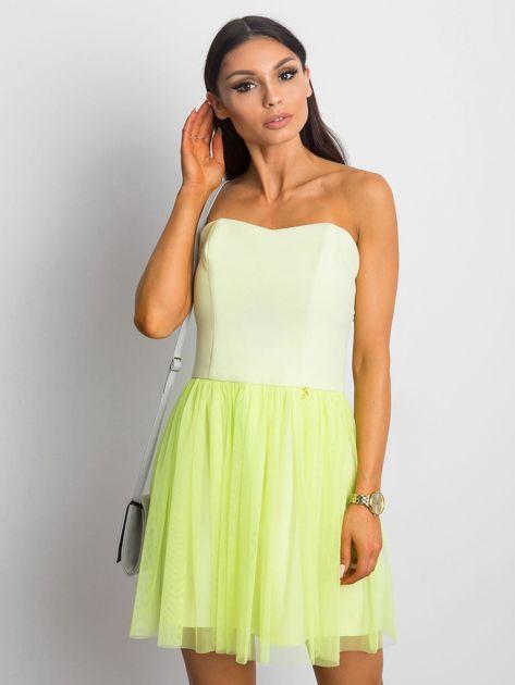 Jasnozielona sukienka bez ramiączek z tiulem                              zdj.                              1