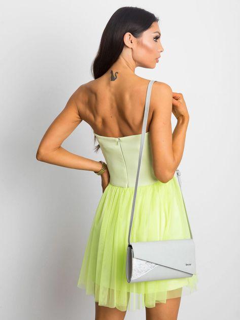 Jasnozielona sukienka bez ramiączek z tiulem                              zdj.                              3