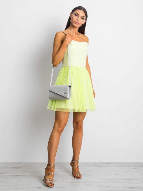 Jasnozielona sukienka bez ramiączek z tiulem                              zdj.                              5