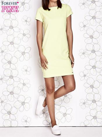 Jasnozielona sukienka dresowa o prostym kroju                                  zdj.                                  5