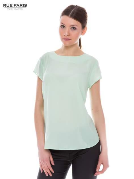 Jasnozielona zwiewna koszula z dłuższym tyłem                                  zdj.                                  1