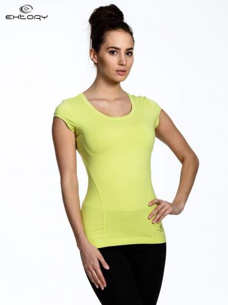 Jasnozielony damski t-shirt sportowy basic                                  zdj.                                  3