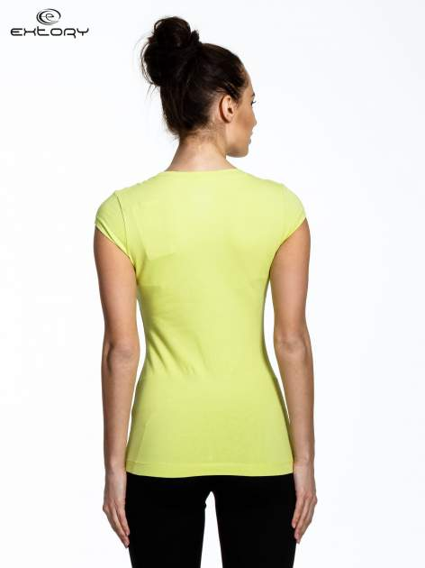 Jasnozielony damski t-shirt sportowy basic                                  zdj.                                  4