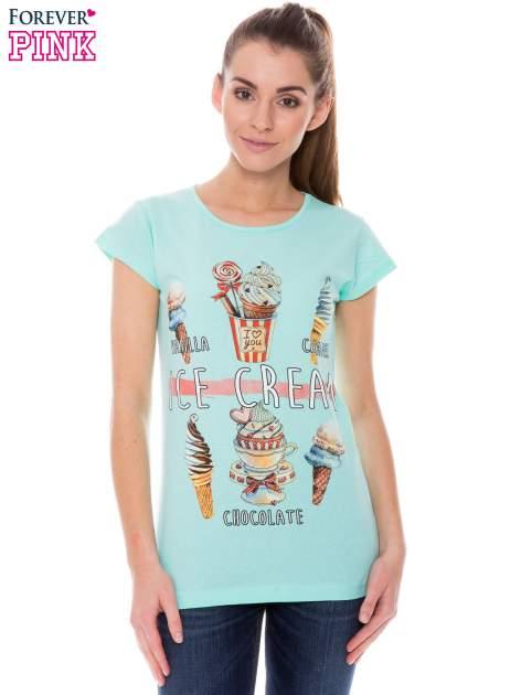 Jasnozielony t-shirt z nadrukiem ICE CREAM