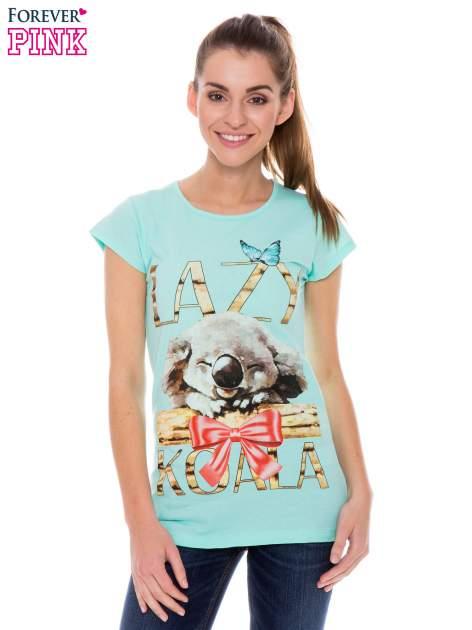 Jasnozielony t-shirt z nadrukiem LAZY KOALA