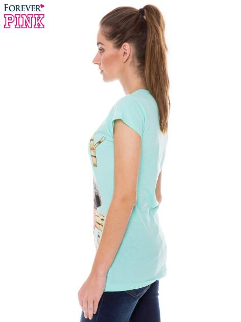 Jasnozielony t-shirt z nadrukiem LAZY KOALA                                  zdj.                                  2