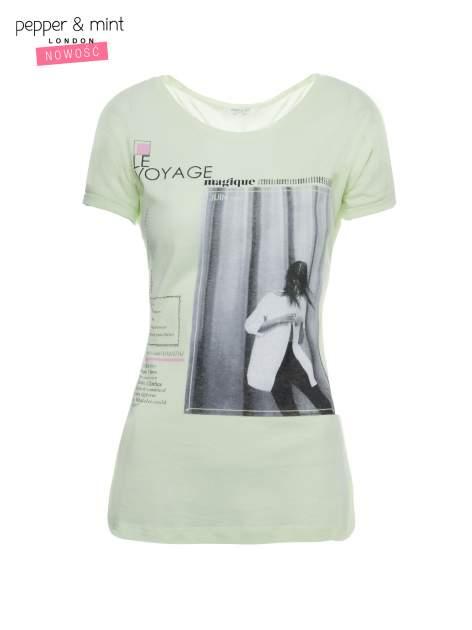Jasnozielony  t-shirt z nadrukiem fashion                                  zdj.                                  2