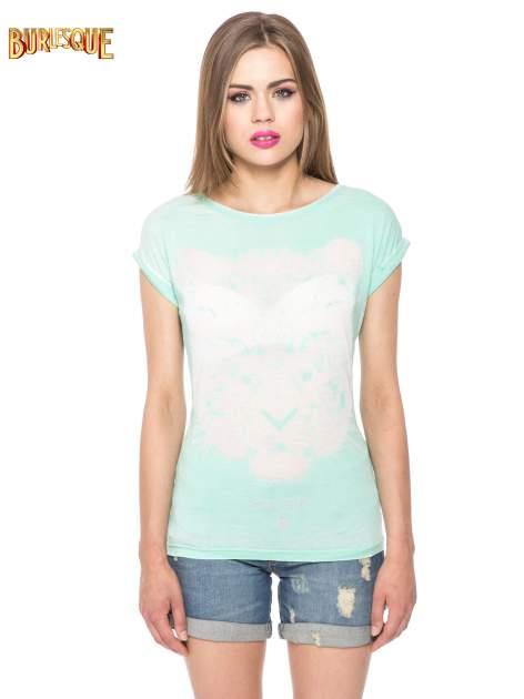 Jasnozielony t-shirt z nadrukiem tygrysa                                  zdj.                                  8