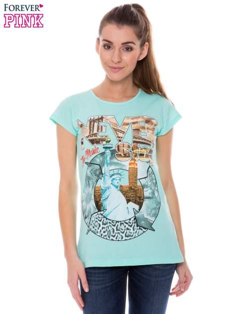 Jasnozielony t-shirt z nadrukiem w amerykańskim stylu