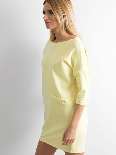 Jasnożółta bawełniana sukienka                              zdj.                              3