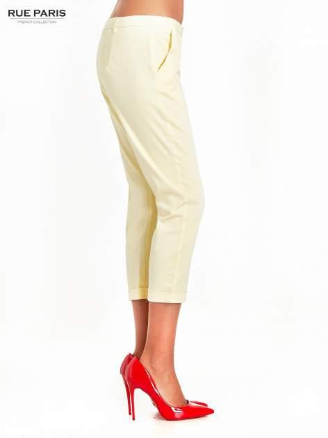 Jasnożółte eleganckie spodnie za kolano                                  zdj.                                  3