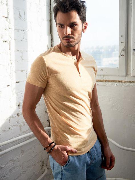 Jasnożółty melanżowy t-shirt męski