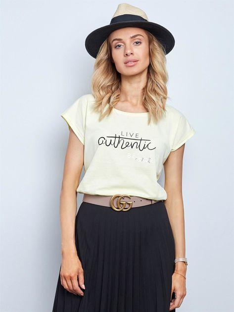 Jasnożółty t-shirt Authentic                              zdj.                              1