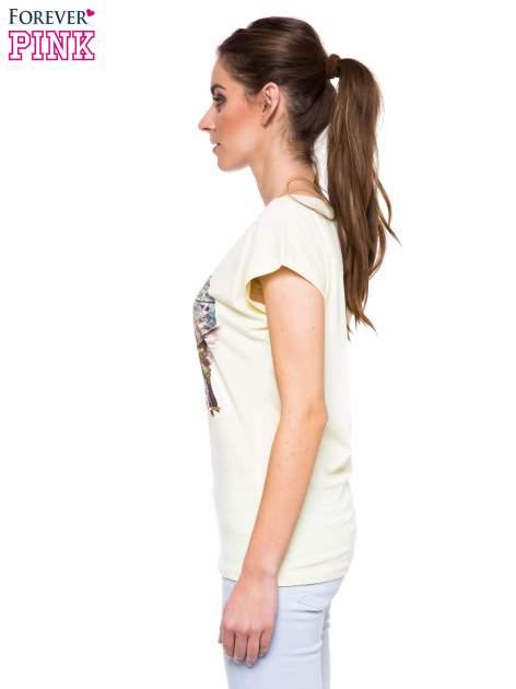 Jasnożółty t-shirt z hipsterskim nadrukiem ptaków                                  zdj.                                  2