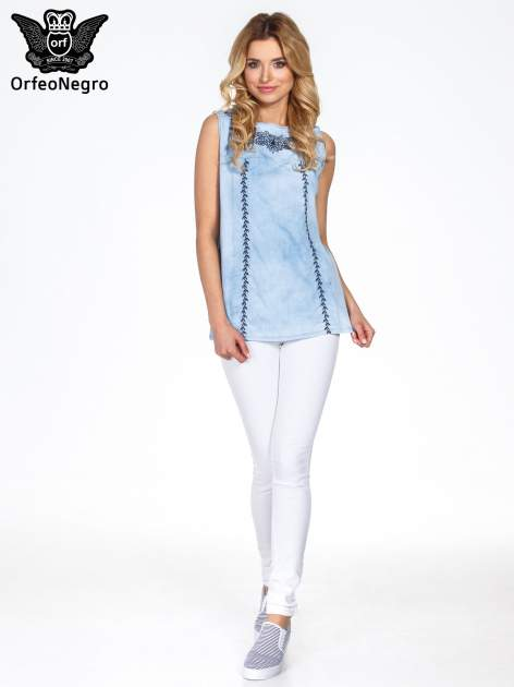 Jeansowa bluzka koszulowa z haftem                                  zdj.                                  7