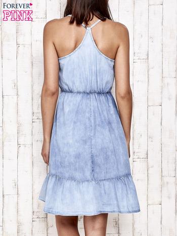 Jeansowa sukienka z falbaną na dole                                  zdj.                                  2
