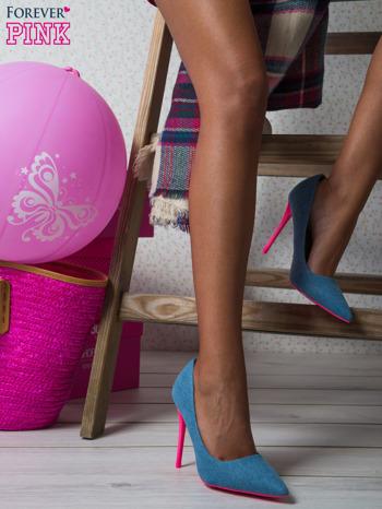 Jeansowe szpilki na różowym obcasie Denim Glam                                  zdj.                                  1