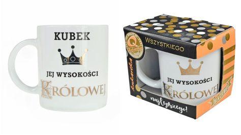 """KUKARTKA Kubek """"Jej Wysokość Królowa"""" porcelanowy w ozdobnym złoconym kartoniku"""