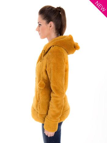 Karmelowa bluza polarowa z kapturem z uszkami i pomponami                                  zdj.                                  5