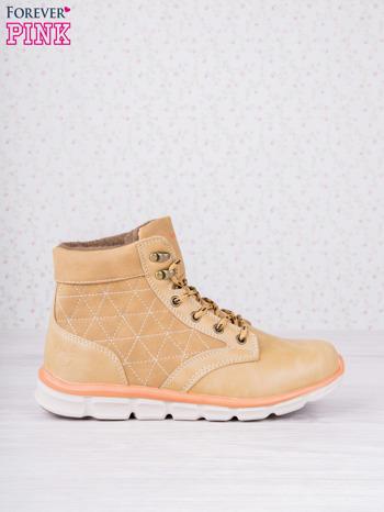 Karmelowe buty sportowe eco leather Hike z brązowymi skórzanymi wstawkami                                  zdj.                                  1