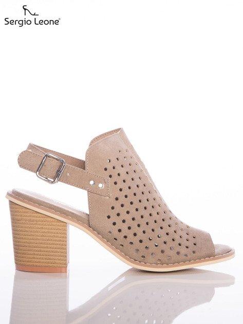 Kawowe ażurowe sandały Sergio Leone na szerokim klocku                              zdj.                              1