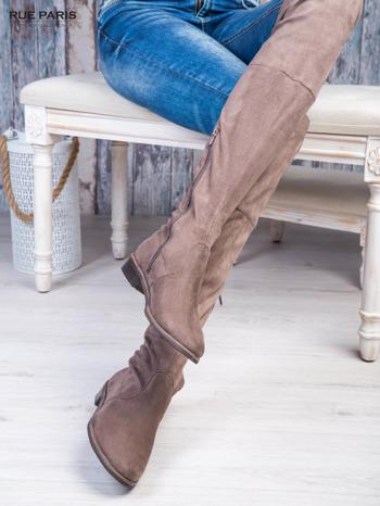 Kawowe zamszowe kozaki faux suede za kolana wiązane na sznurek nad kolanem                                  zdj.                                  4