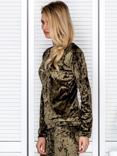Khaki aksamitna bluza damska                               zdj.                              5