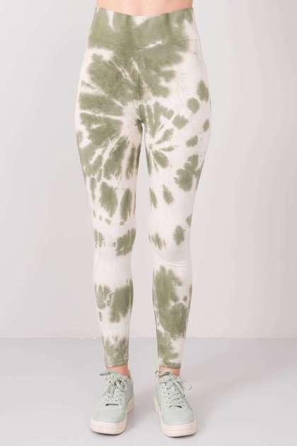 Khaki-białe legginsy bawełniane tie-dye BSL