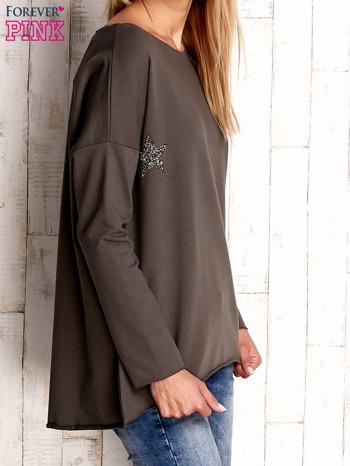 Khaki bluza z błyszczącymi gwiazdkami                                  zdj.                                  3